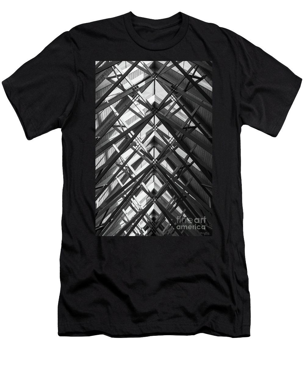 Abstract Men's T-Shirt (Athletic Fit) featuring the photograph Anthony Skylights Grayscale by Jennifer White