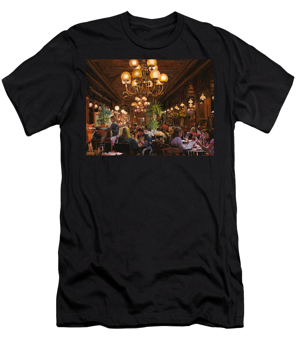 Brasserie Men's T-Shirt (Athletic Fit) featuring the painting Antica Brasserie by Guido Borelli