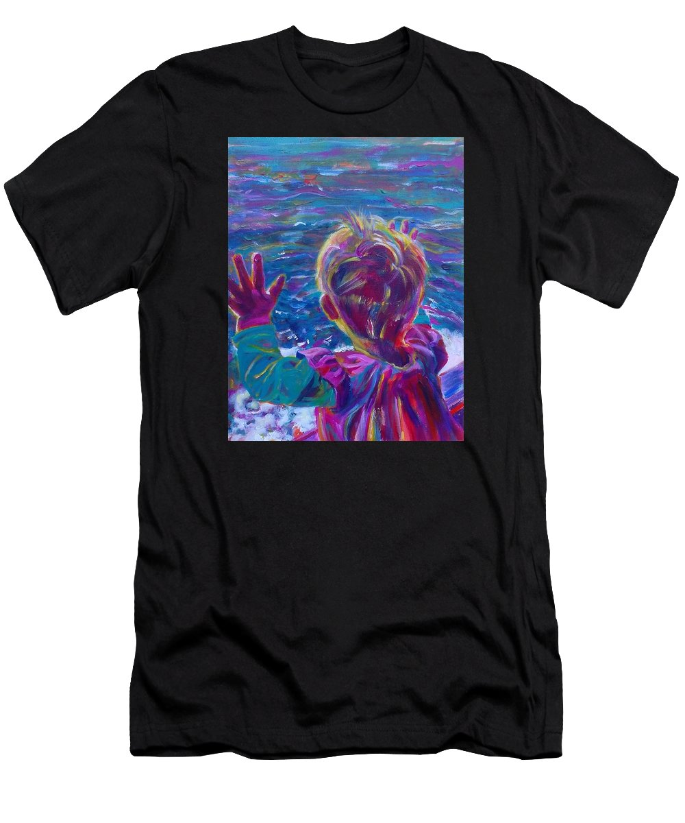 Seascape Men's T-Shirt (Athletic Fit) featuring the painting Anticipation Or Are We There Yet? by Karin McCombe Jones