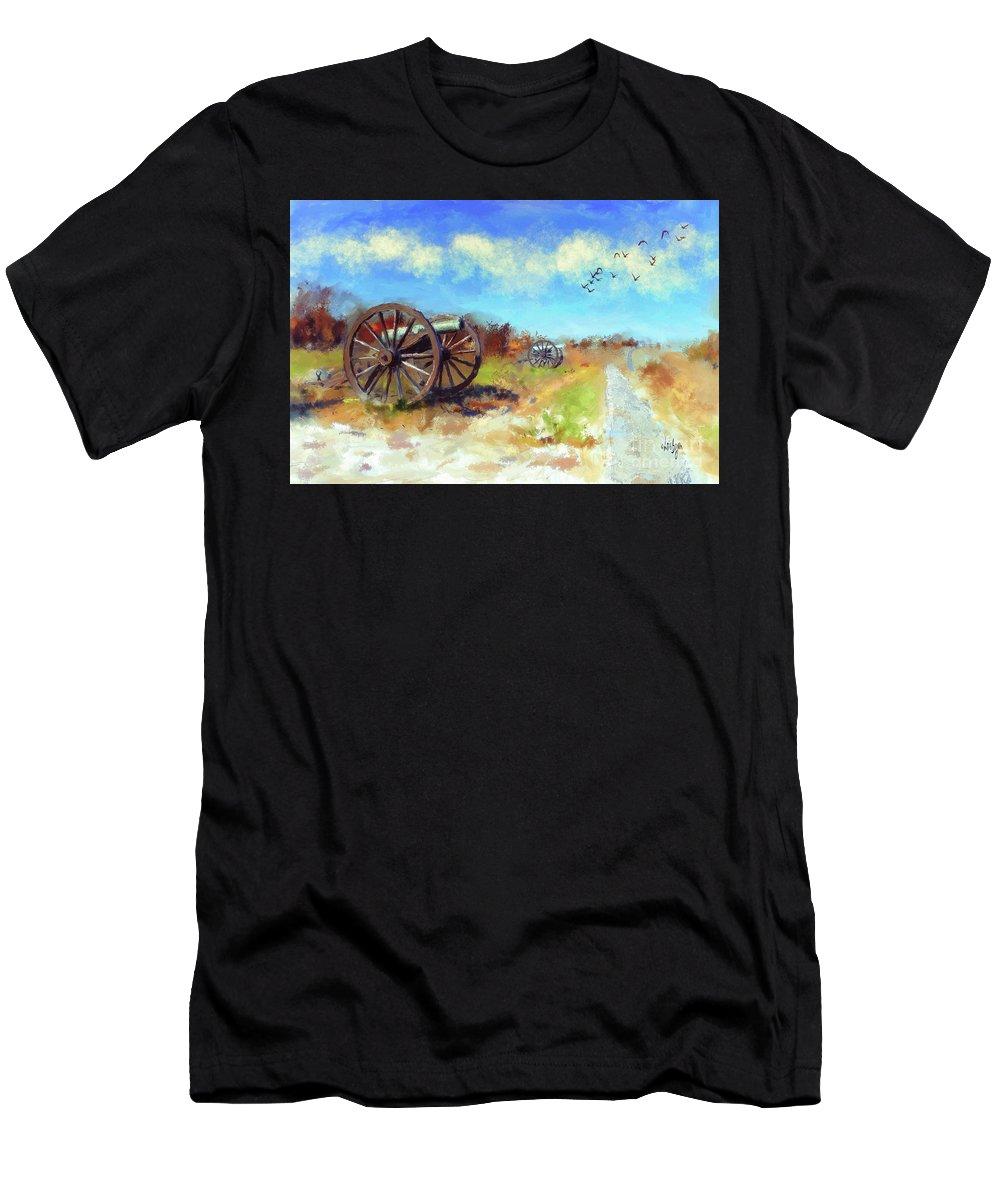 Antietam Men's T-Shirt (Athletic Fit) featuring the digital art Antietam Under Blue Skies by Lois Bryan