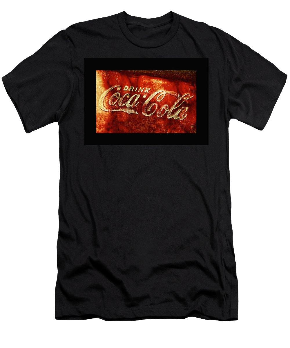 Ice Box Men's T-Shirt (Athletic Fit) featuring the photograph Antique Coca-cola Cooler II by Stephen Anderson