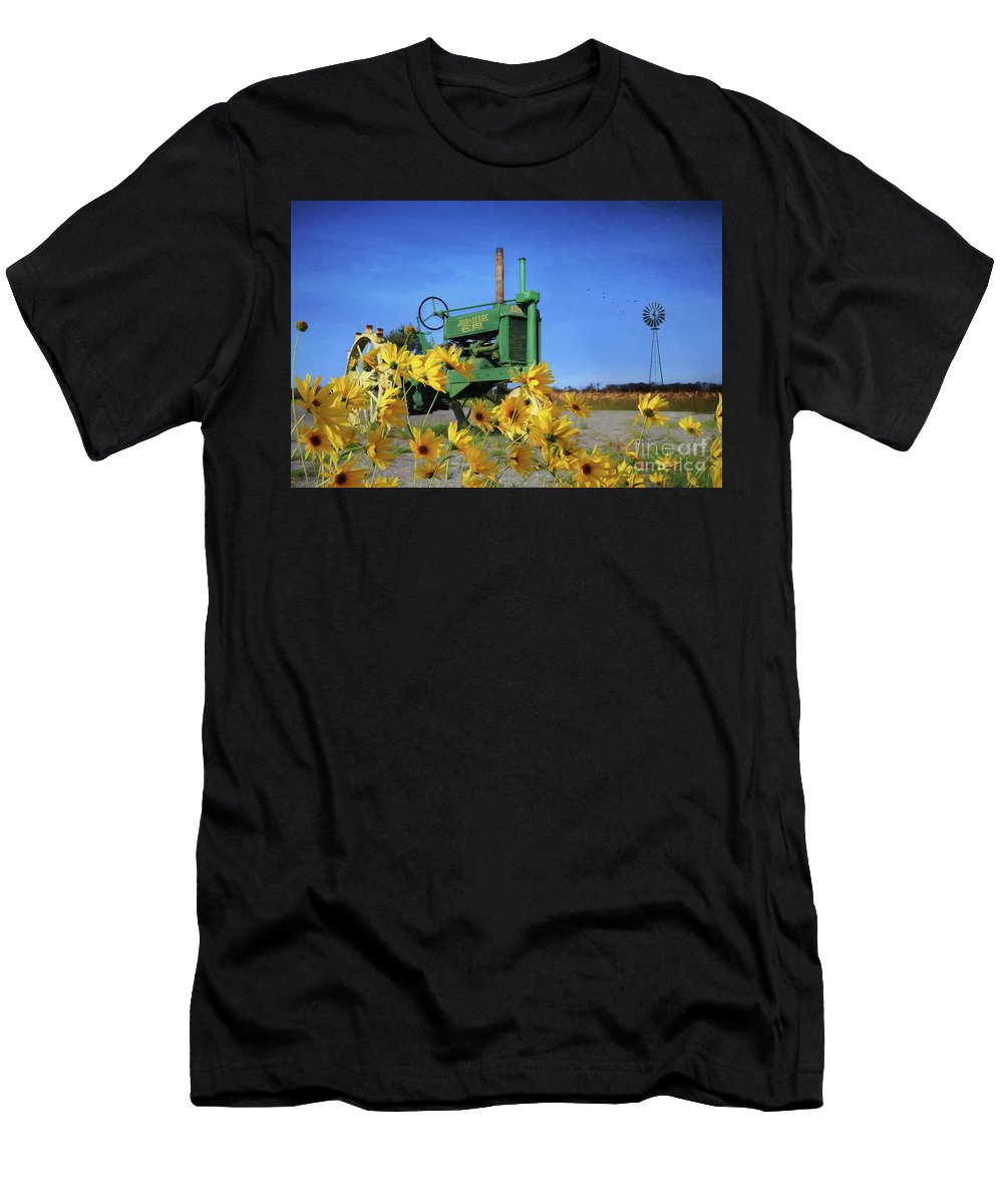 Tractor Men's T-Shirt (Athletic Fit) featuring the photograph Antique John Deere by Lori Deiter