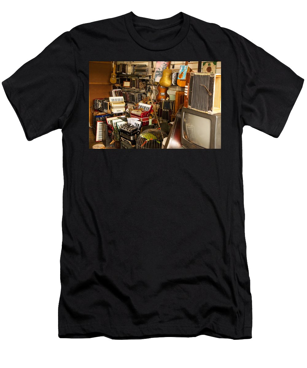 Montevideo Men's T-Shirt (Athletic Fit) featuring the photograph Antique Music Store by Jess Kraft