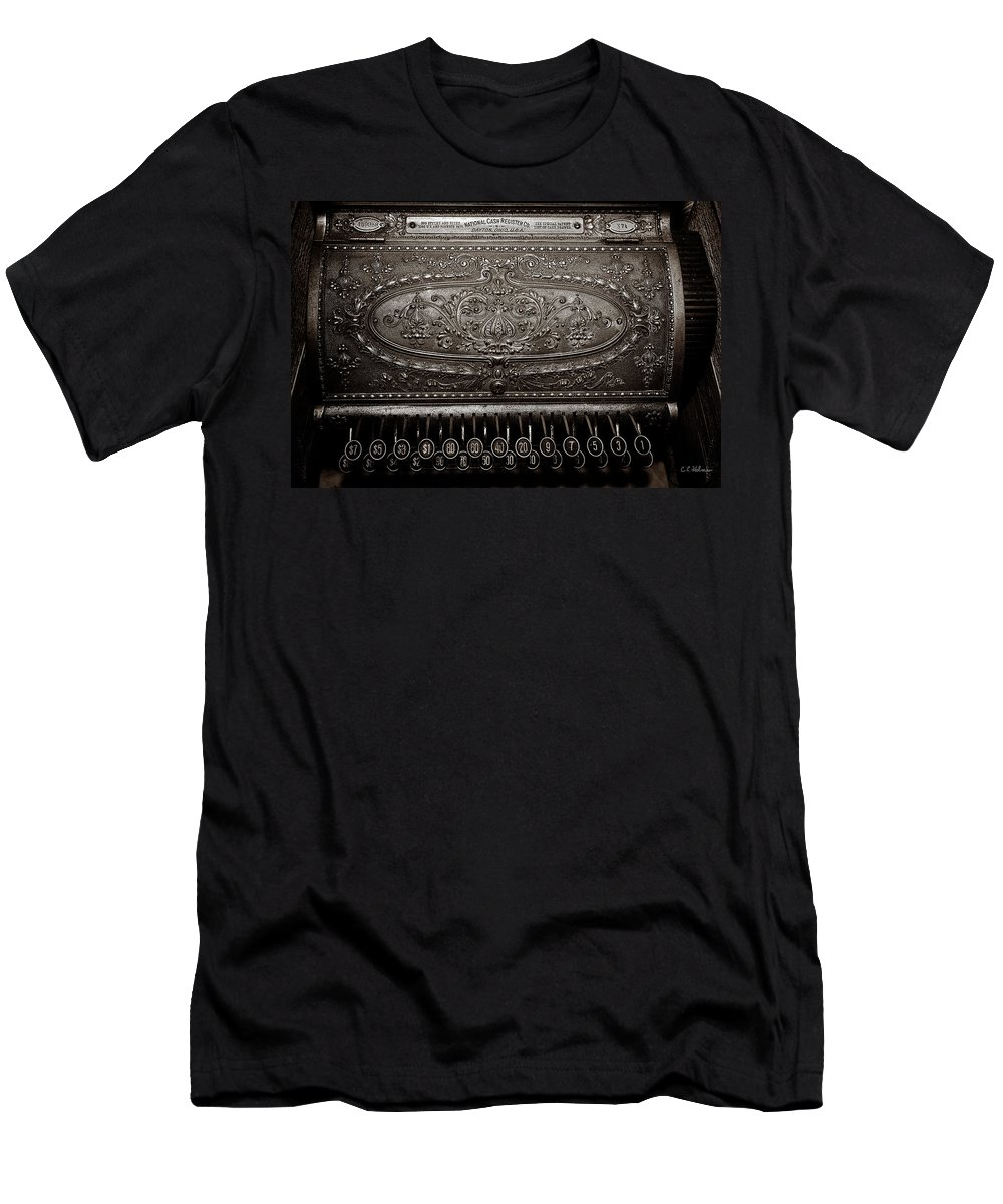 Cash Register Men's T-Shirt (Athletic Fit) featuring the photograph Antique Ncr - Sepia by Christopher Holmes