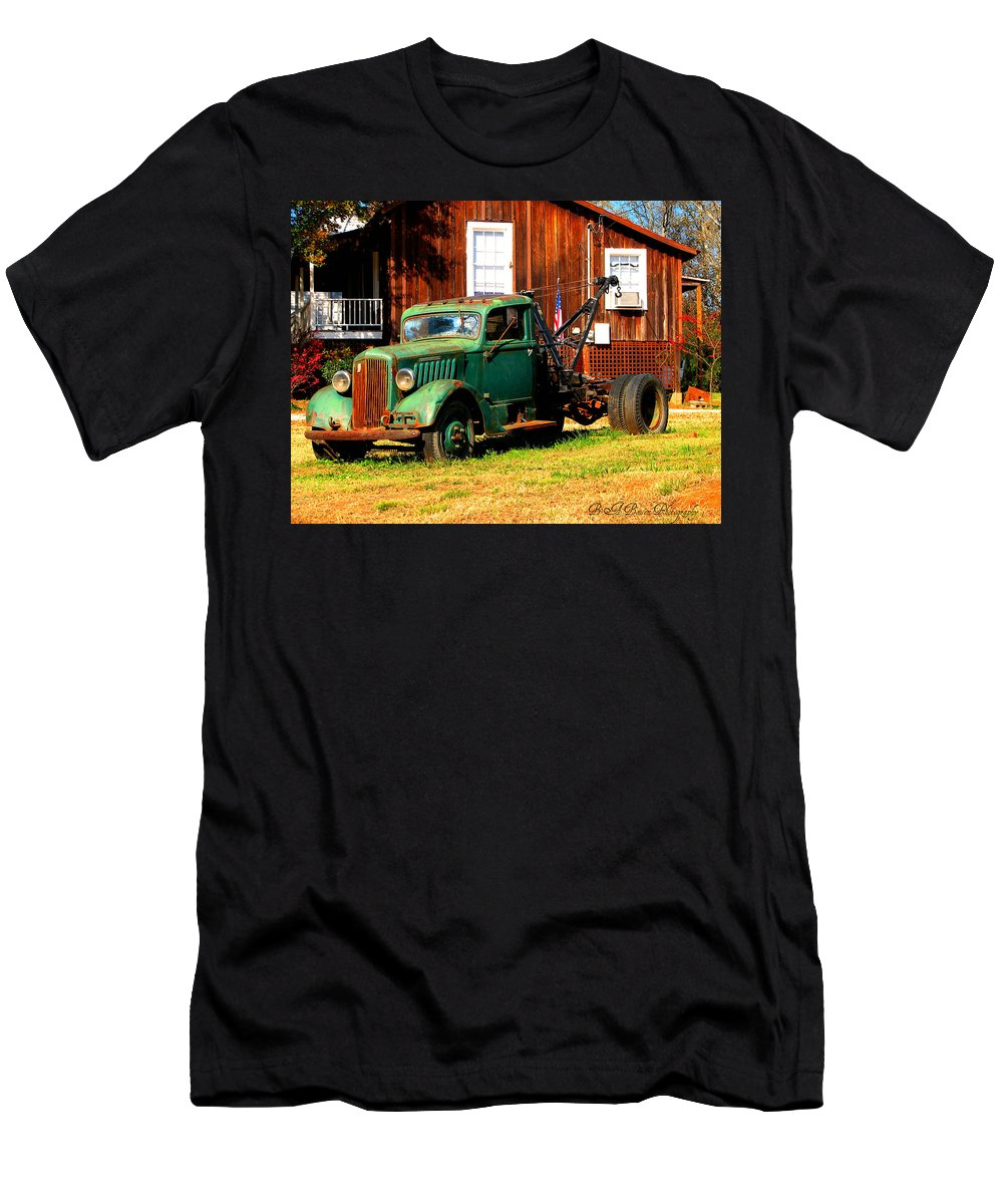 Tow Truck Men's T-Shirt (Athletic Fit) featuring the photograph Antique Tow Truck by Barbara Bowen