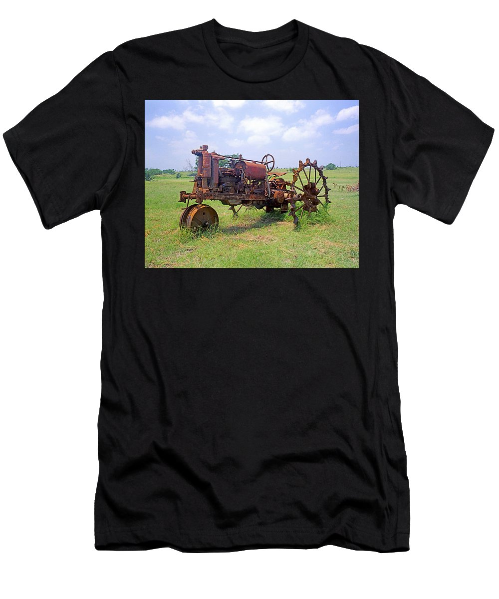 Farm Machinery Men's T-Shirt (Athletic Fit) featuring the photograph Antique Tractor by Jim Smith