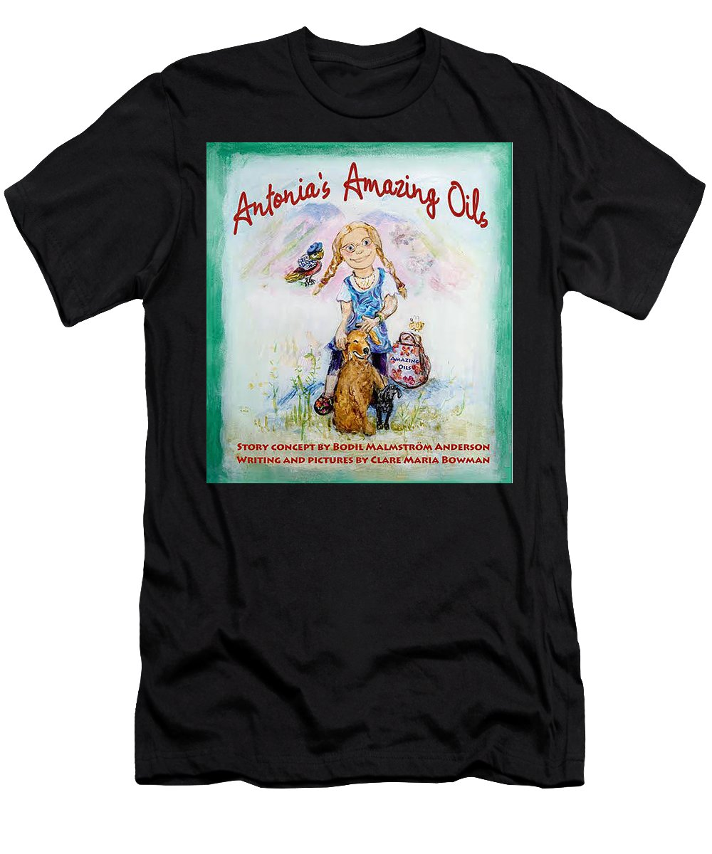 Men's T-Shirt (Athletic Fit) featuring the painting Antonia's Amazing Oils by Claremaria Vrindaji Bowman