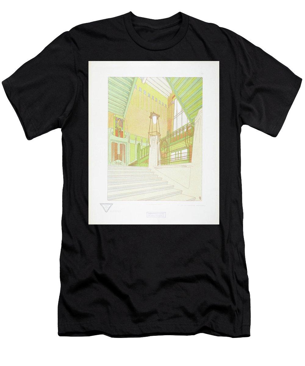 Max Joseph Gradl Men's T-Shirt (Athletic Fit) featuring the painting Antwerpen by Joseph Gradl
