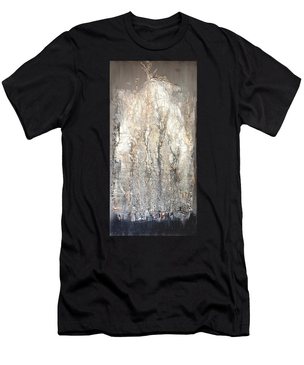 Beauty Men's T-Shirt (Athletic Fit) featuring the painting Aokigahara Forest by Elena Petrova Gancheva