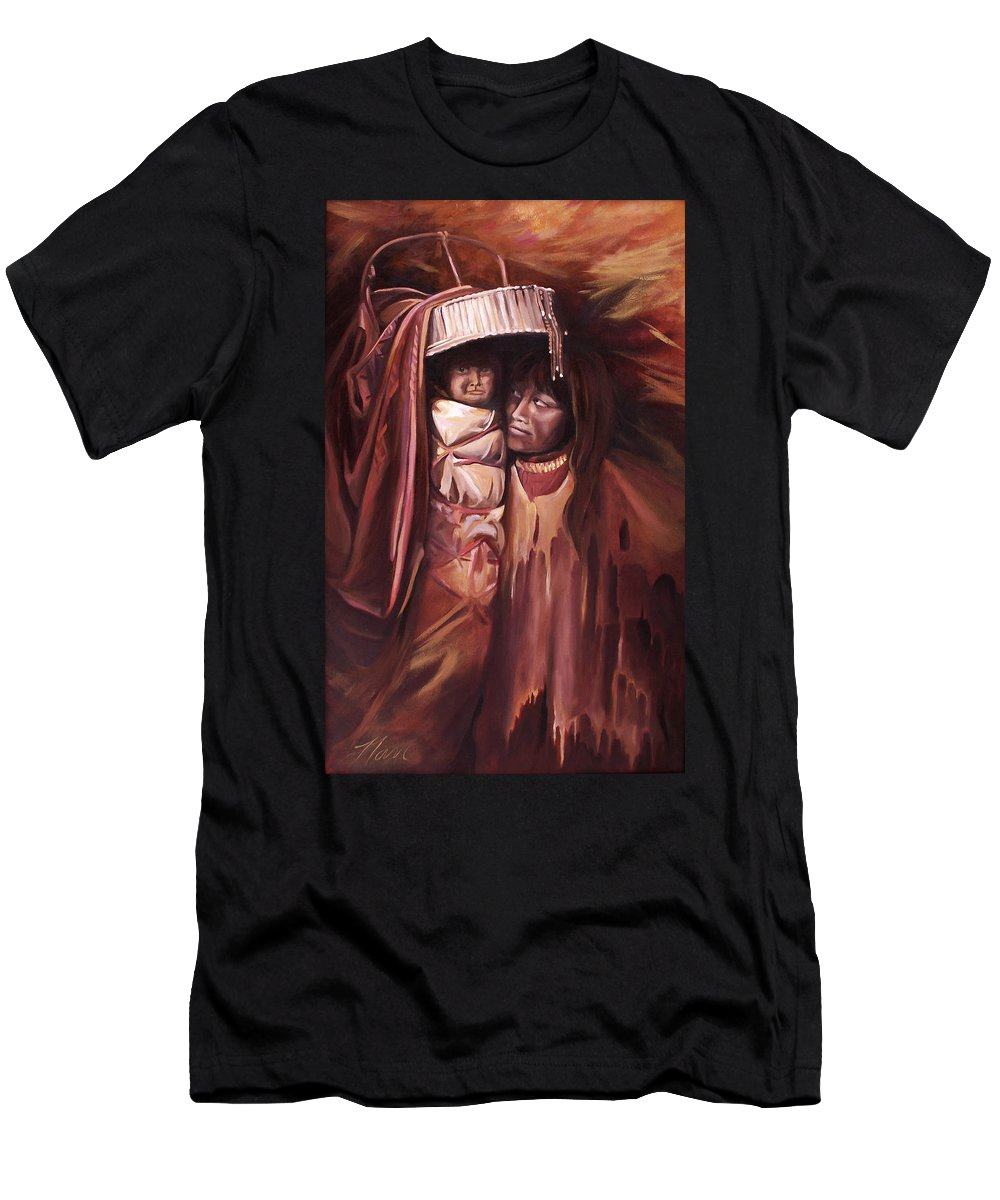 Native American Men's T-Shirt (Athletic Fit) featuring the painting Apache Girl And Papoose by Nancy Griswold
