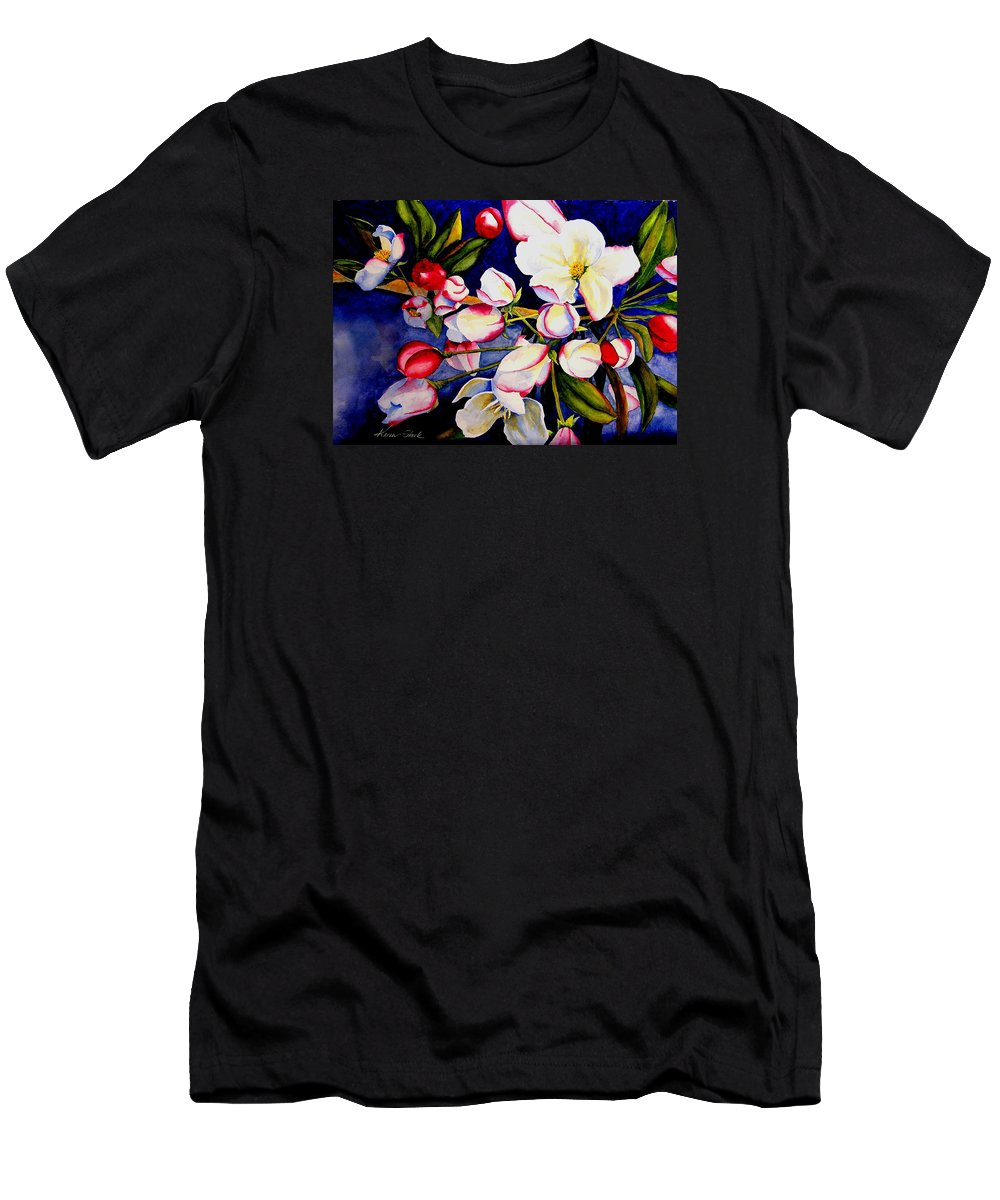 Apple Blossoms Men's T-Shirt (Athletic Fit) featuring the painting Apple Blossom Time by Karen Stark