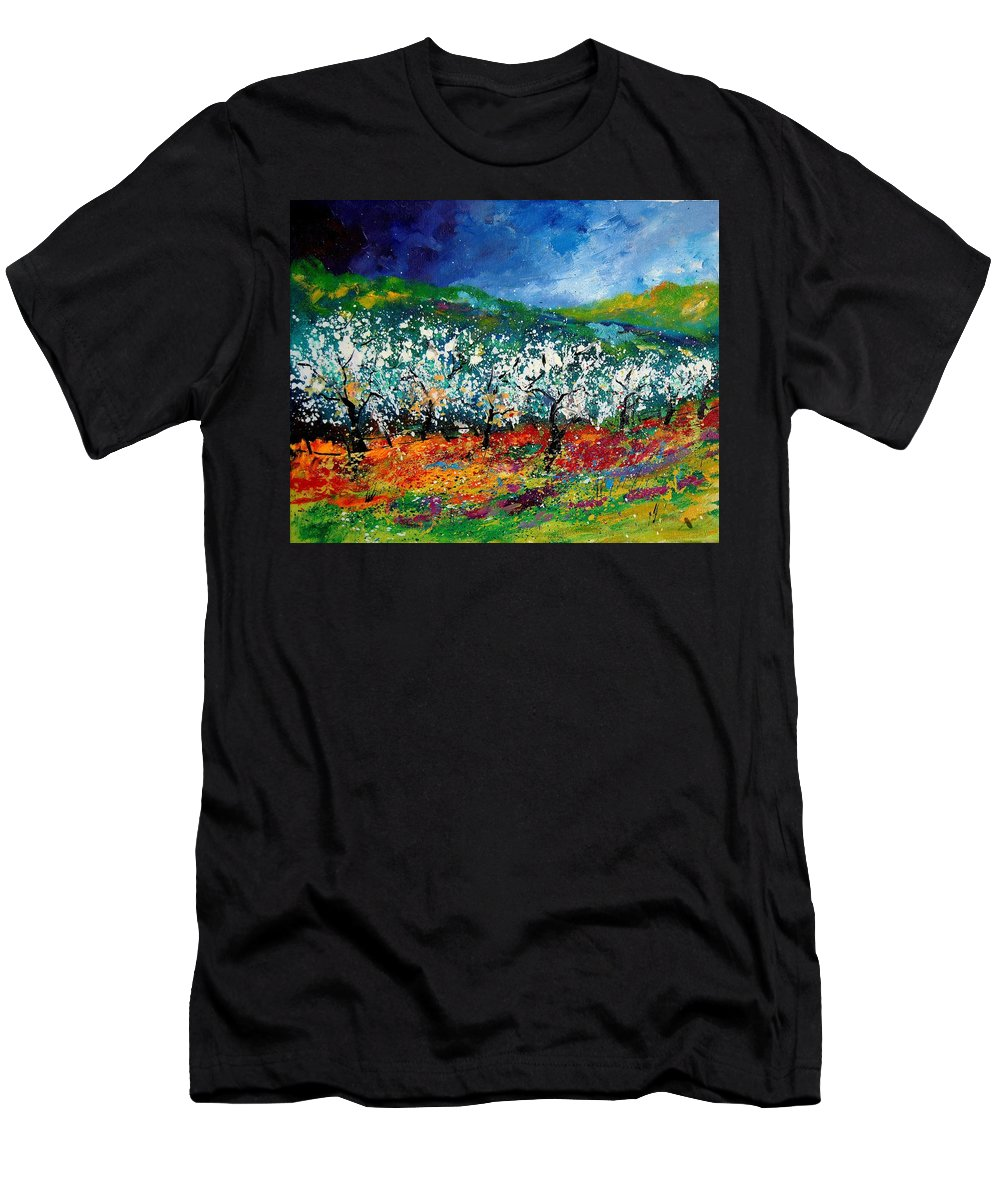 Spring Men's T-Shirt (Athletic Fit) featuring the painting Appletrees 4509070 by Pol Ledent
