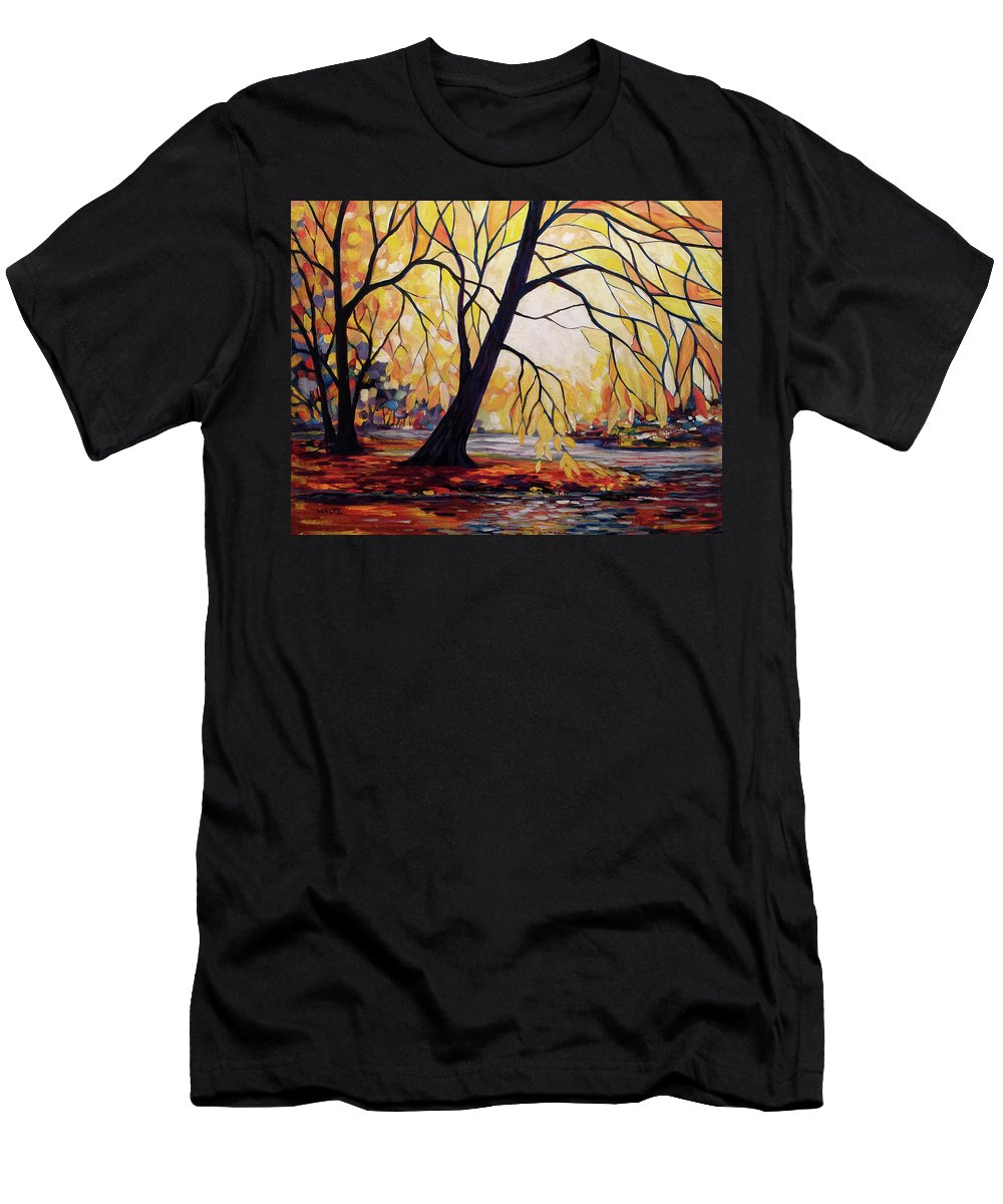 Stained Glass Style Painting Tree River Men's T-Shirt (Athletic Fit) featuring the painting Appoggiatura by Beth Waltz