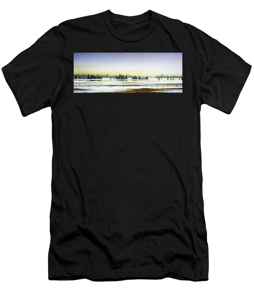 Rural Landscape Men's T-Shirt (Athletic Fit) featuring the painting April Evening by Conrad Mieschke