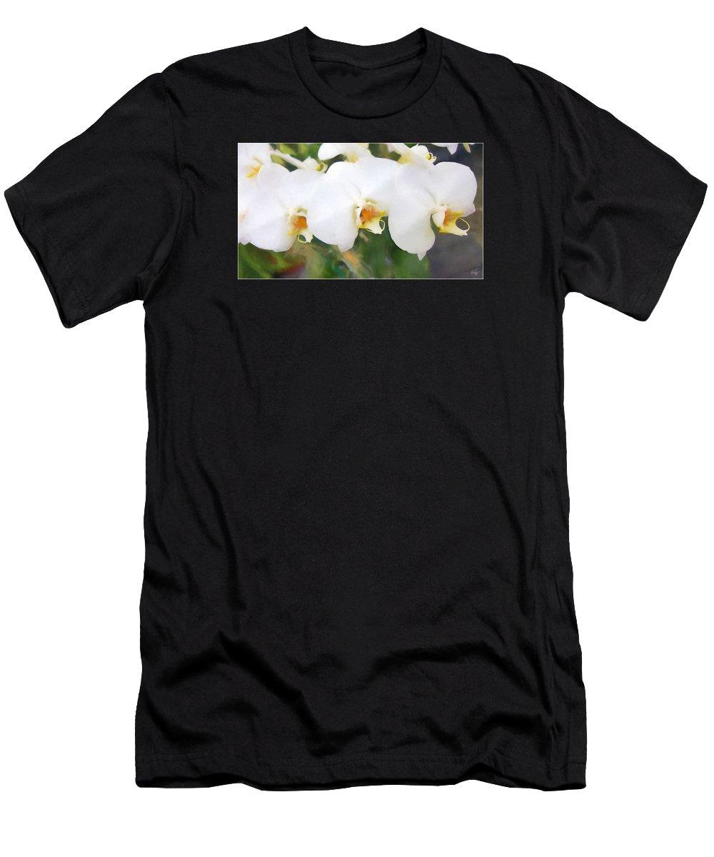 Floral Men's T-Shirt (Athletic Fit) featuring the digital art Aqua Lilies by Edier C