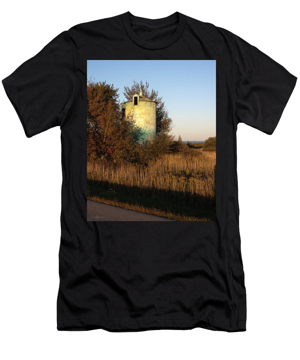 Silo Men's T-Shirt (Athletic Fit) featuring the photograph Aqua Silo by Tim Nyberg