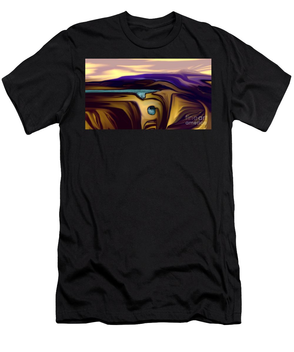 Abstract Men's T-Shirt (Athletic Fit) featuring the digital art Aquifer by David Lane