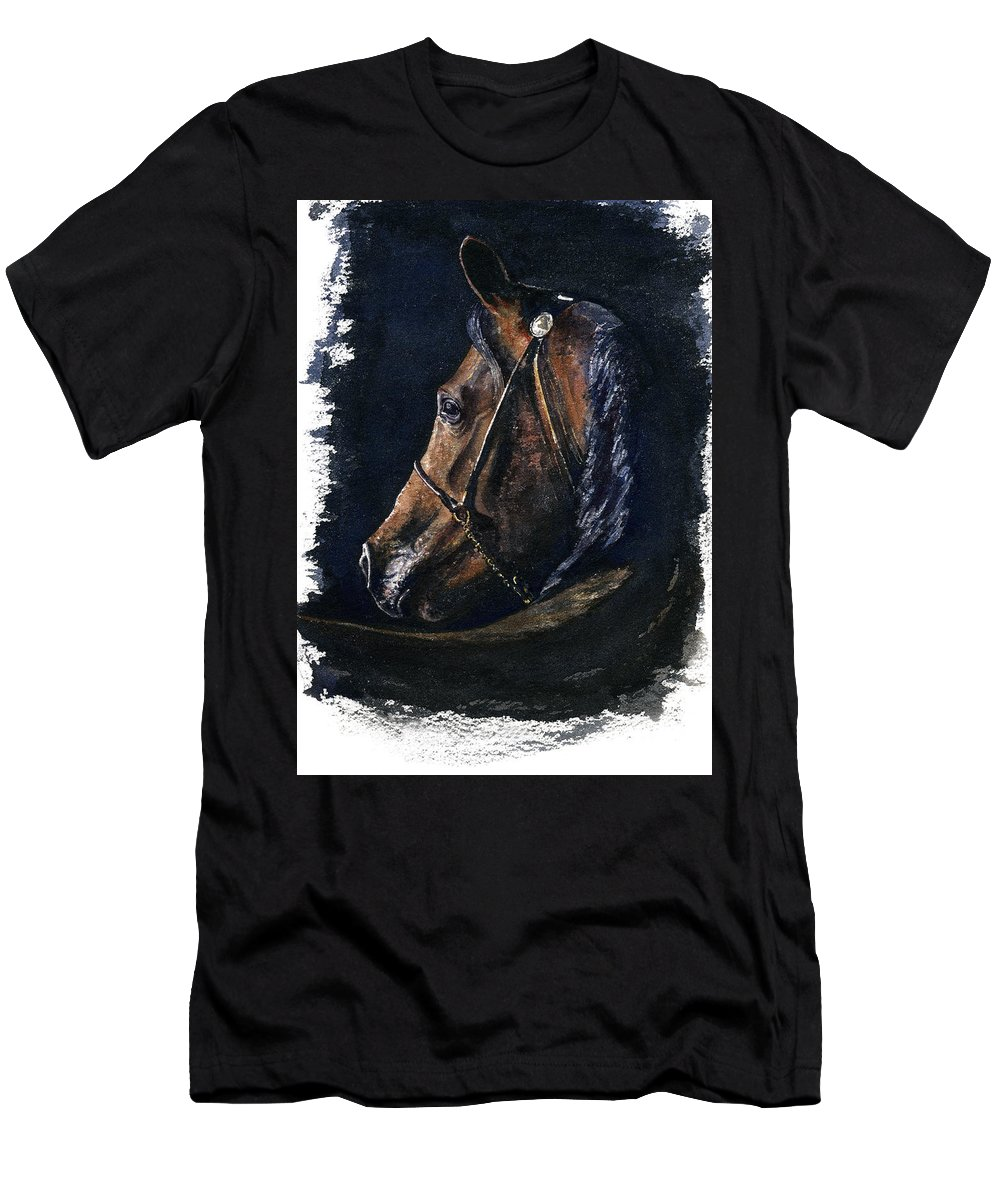 Horse Men's T-Shirt (Athletic Fit) featuring the painting Arabian by John D Benson