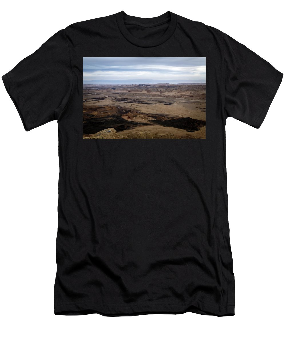 Nature Men's T-Shirt (Athletic Fit) featuring the photograph Arava Valley, South Israel, Evening Twilight by Jan Pavlovski