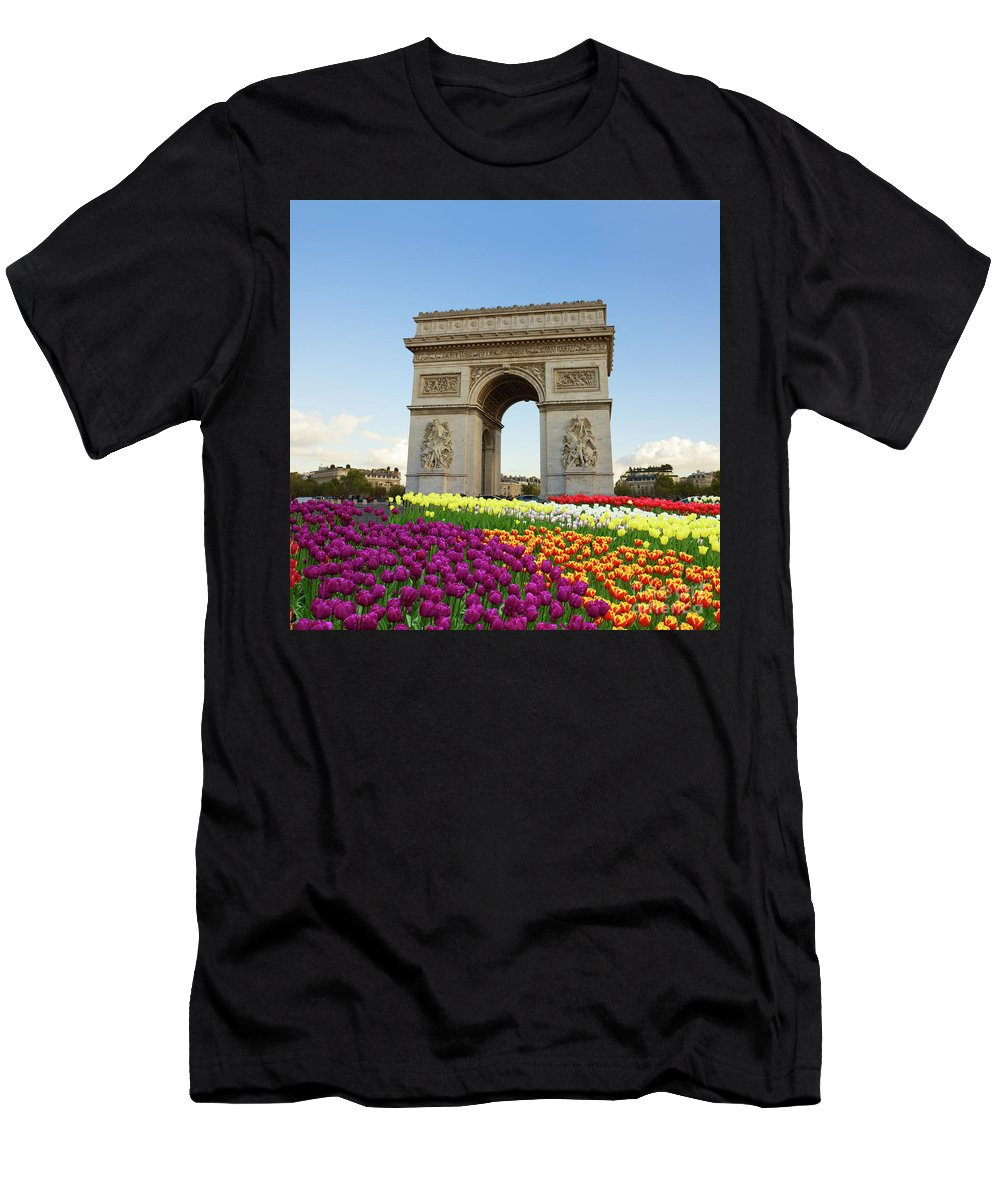 Paris Men's T-Shirt (Athletic Fit) featuring the photograph Arc De Triomphe In Paris by Anastasy Yarmolovich