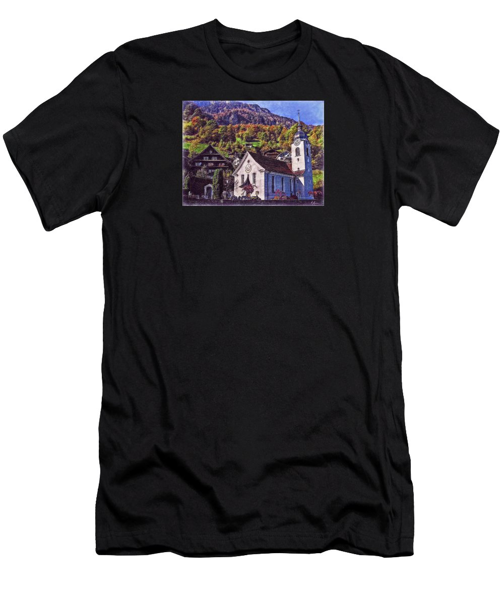 Switzerland Men's T-Shirt (Athletic Fit) featuring the photograph Arcadian Hamlet by Hanny Heim
