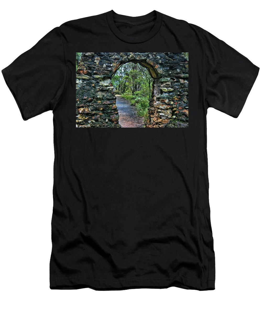 Arch Men's T-Shirt (Athletic Fit) featuring the photograph Archway To The Forest by Douglas Barnard