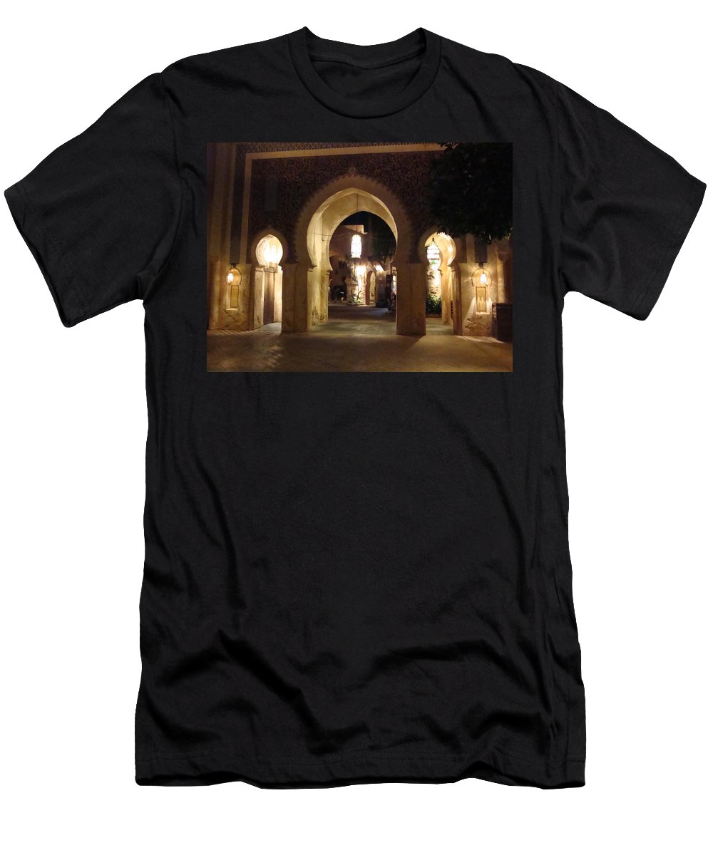Light Men's T-Shirt (Athletic Fit) featuring the photograph Archways At Night by Kim Chernecky