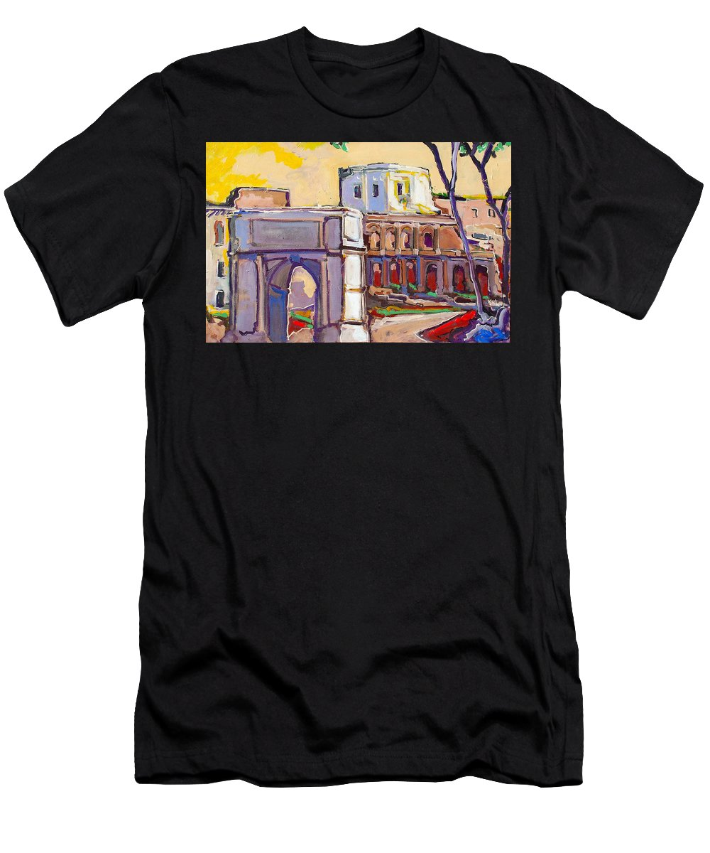 Rome Men's T-Shirt (Athletic Fit) featuring the painting Arco Di Romano by Kurt Hausmann