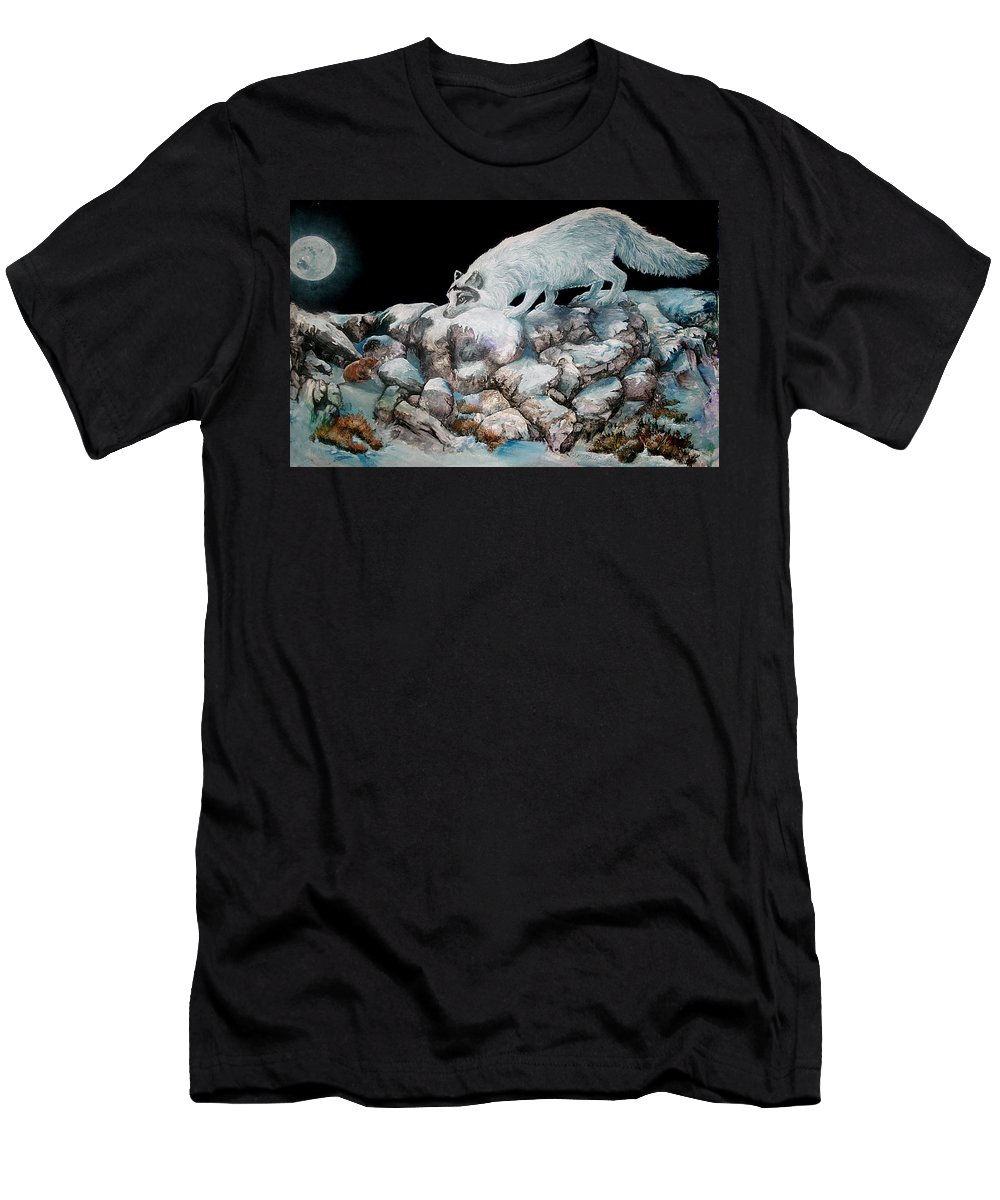 Fox Men's T-Shirt (Athletic Fit) featuring the painting Arctic Encounter by Sherry Shipley