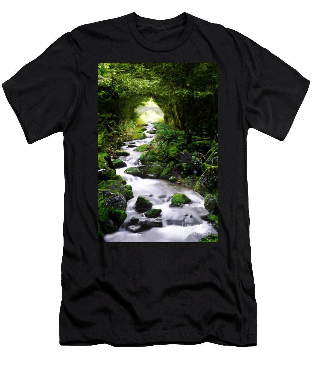 Arden Men's T-Shirt (Athletic Fit) featuring the digital art Arden Bridge by John Edwards