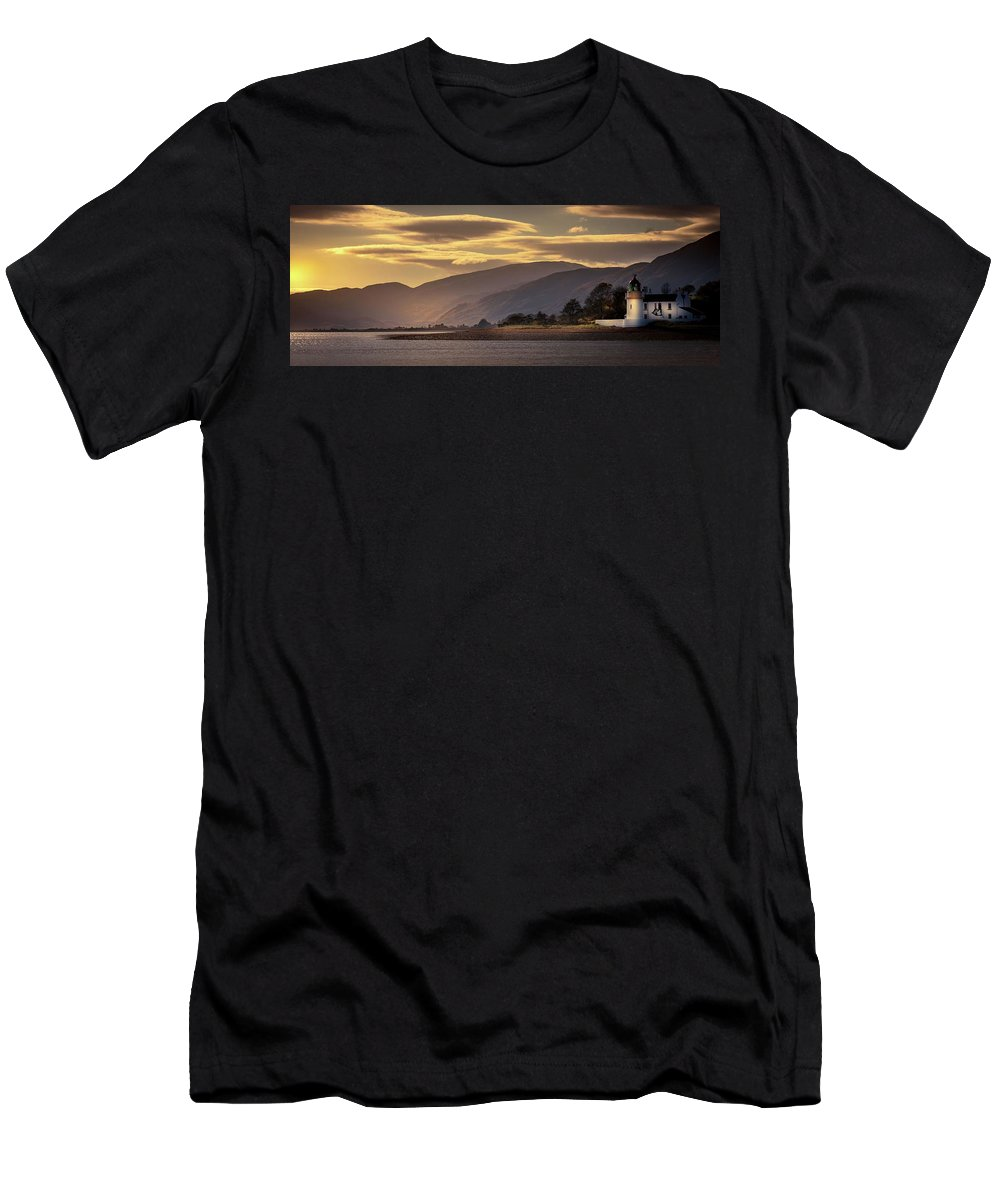 Lighthouse Scotland Seaview Scottish Ardgour Sunset Men's T-Shirt (Athletic Fit) featuring the photograph Ardgour Light House by Paul Graham