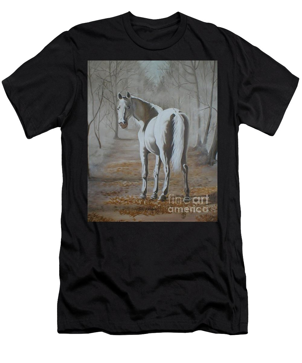 White Horse Looking Autumn Leaves Trees Avenue Shadows Men's T-Shirt (Athletic Fit) featuring the painting Are You Coming by Pauline Sharp