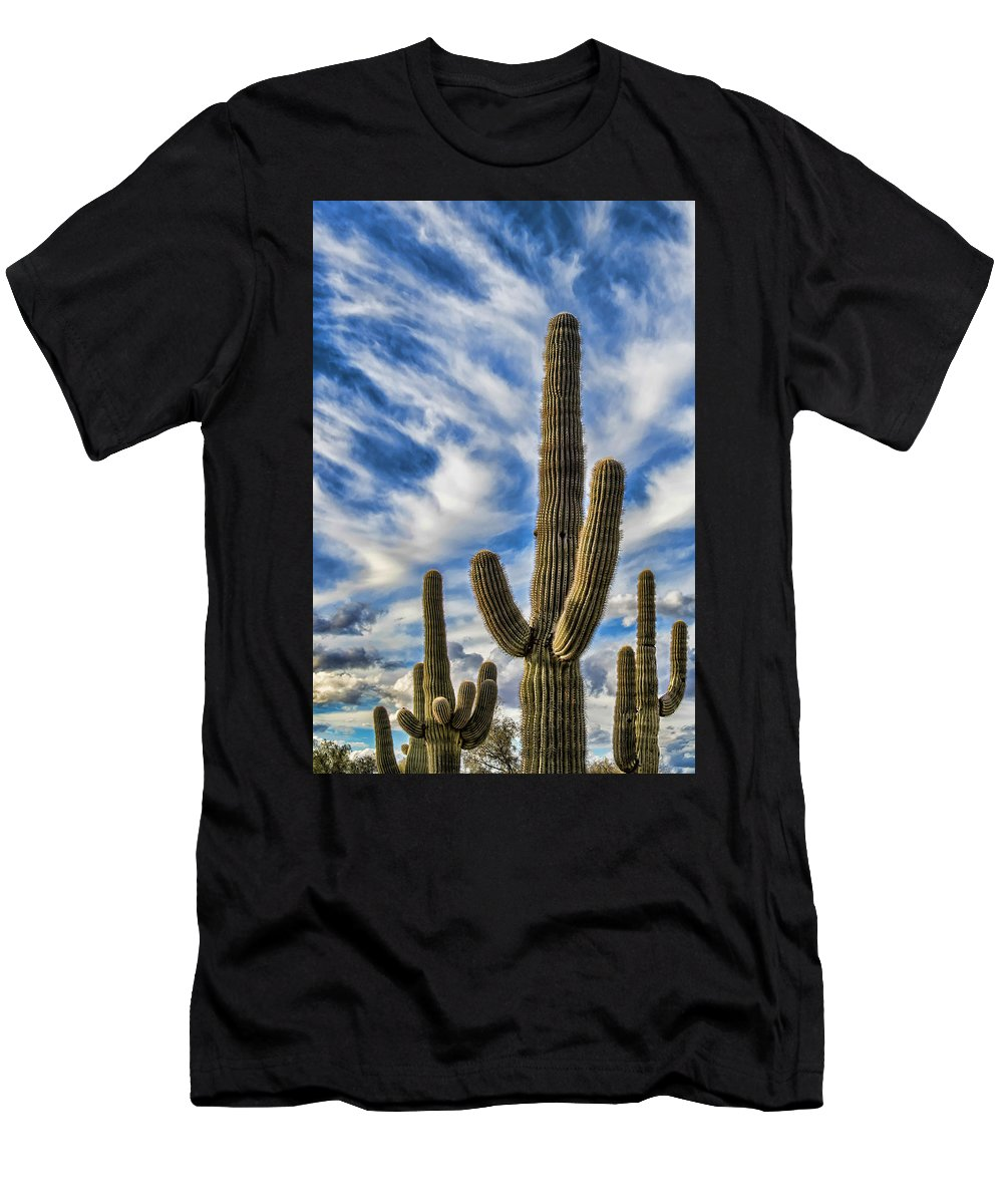 Desert Cactus Men's T-Shirt (Athletic Fit) featuring the photograph Arizona Saguaro by Jon Berghoff
