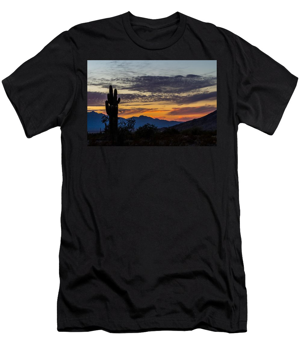 Sky Men's T-Shirt (Athletic Fit) featuring the photograph Arizona Sunset by Brigitte Mueller