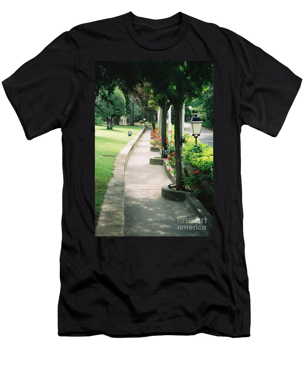 Arles Men's T-Shirt (Athletic Fit) featuring the photograph Arles Walkway by Nadine Rippelmeyer