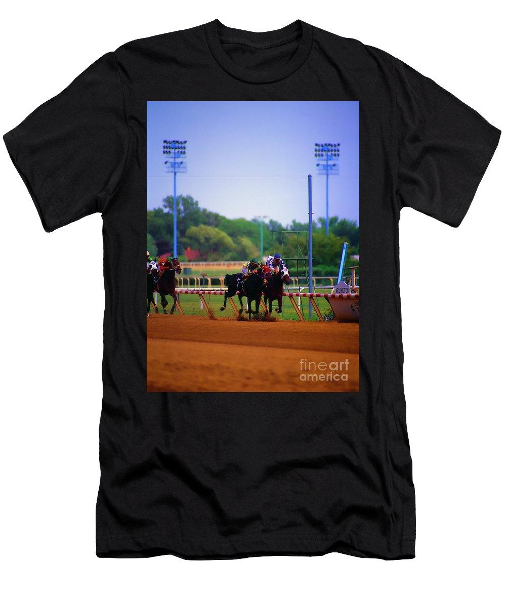 Arlington Men's T-Shirt (Athletic Fit) featuring the photograph Arlington Park Finish Line by Tom Jelen