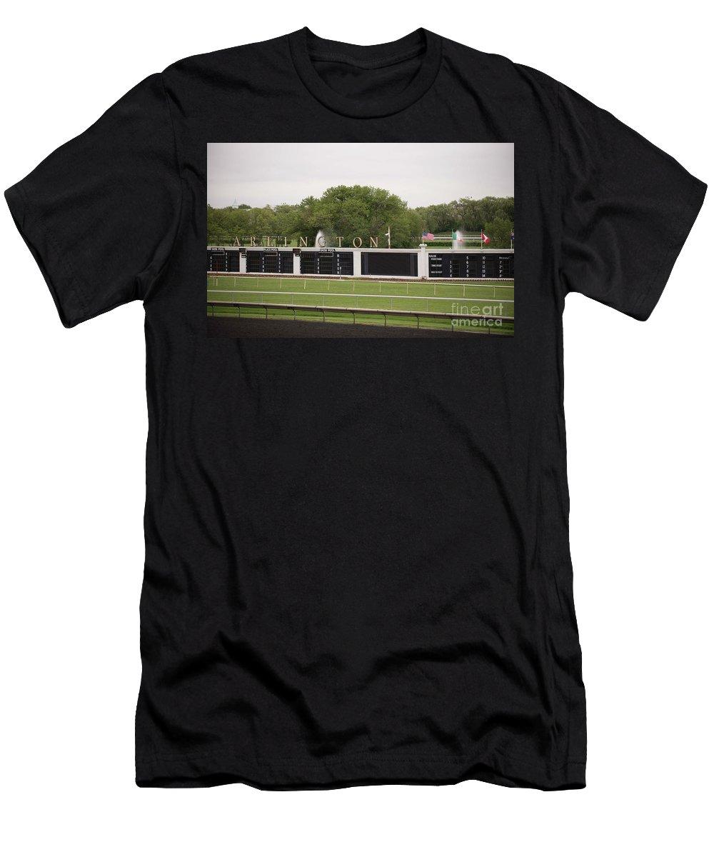 Arlington Park Men's T-Shirt (Athletic Fit) featuring the photograph Arlington Park Race Track by David Bearden