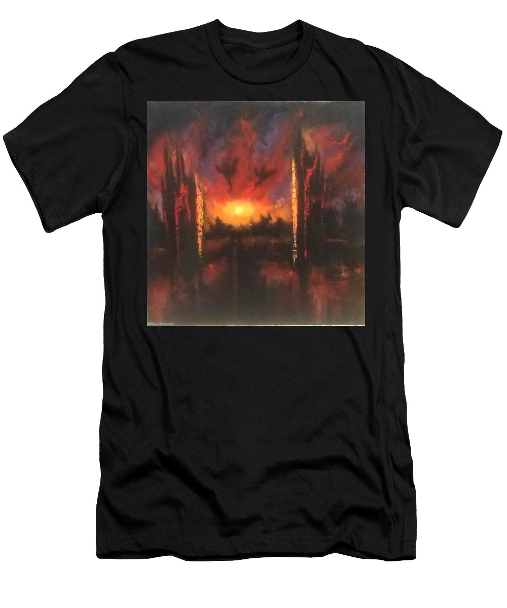 Landscape Men's T-Shirt (Athletic Fit) featuring the painting Armageddon by Nissan Rabin