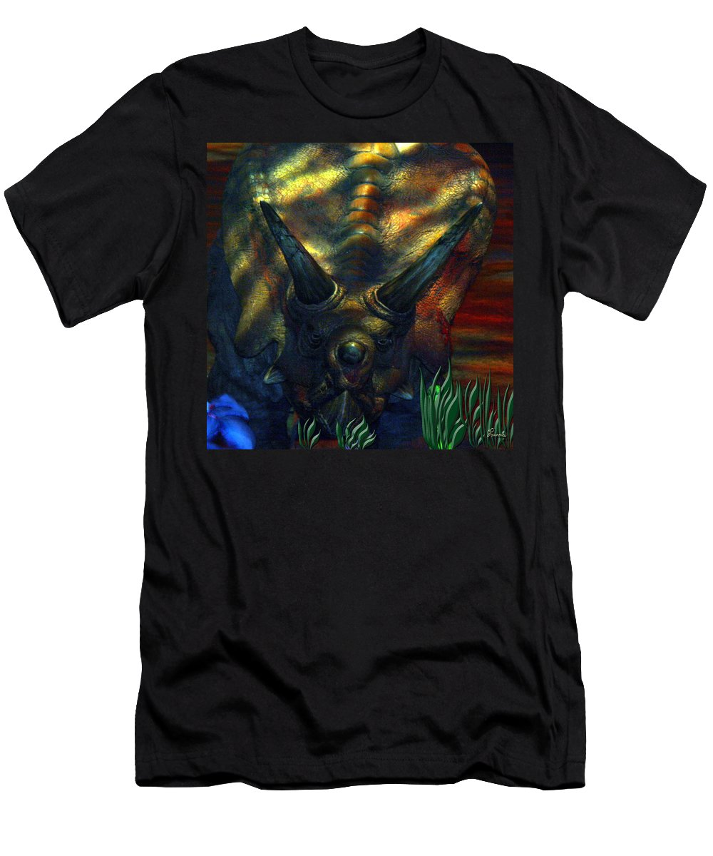 Dinosaur Armour Triceratops Extinct Dinosaurs Herbivorous Cretaceous Period Men's T-Shirt (Athletic Fit) featuring the photograph Armour Plated by Andrea Lawrence