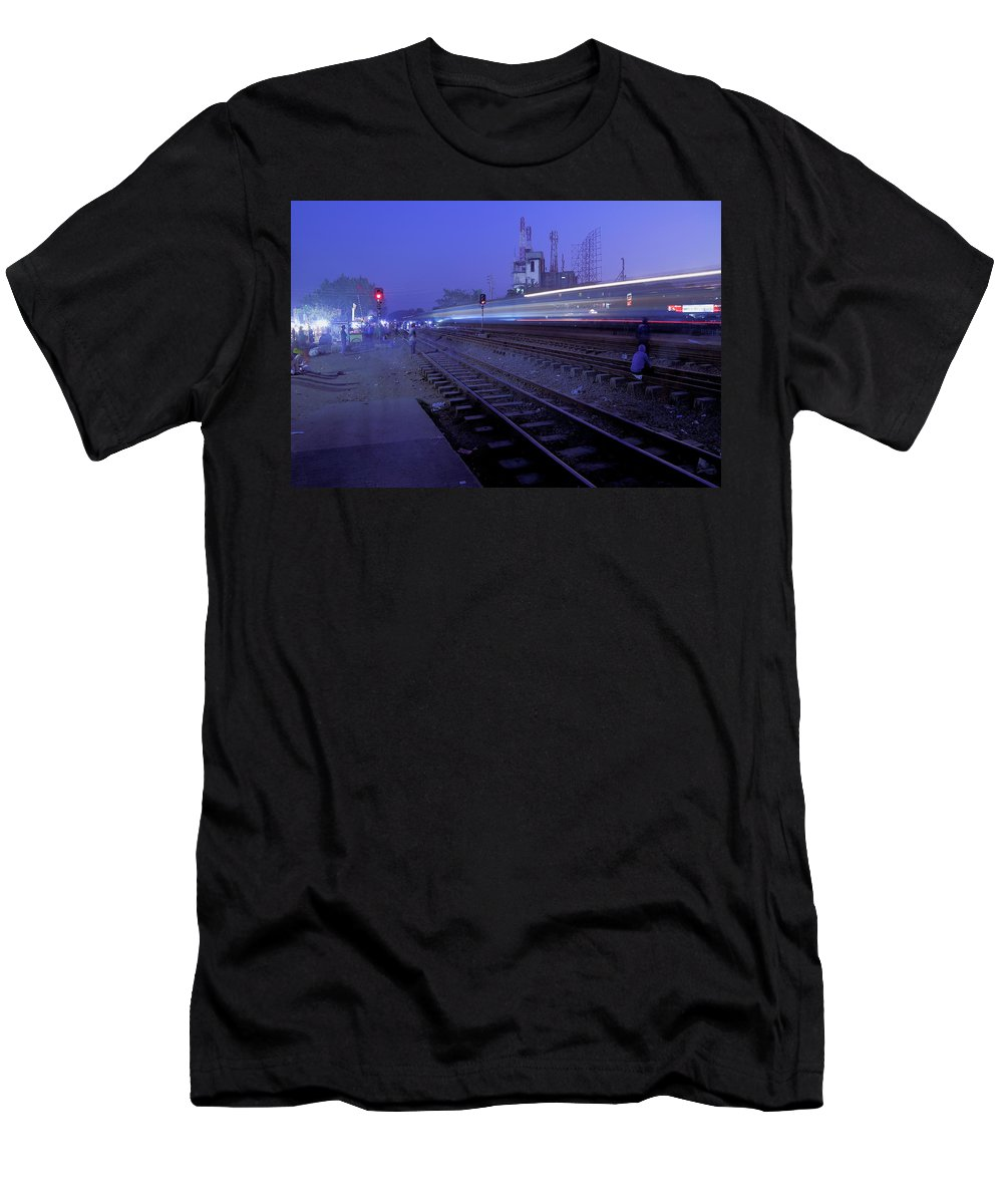 Bd Dhaka Railwaystation Arrival Dusk Men's T-Shirt (Athletic Fit) featuring the photograph Arrival At Dusk by Quazi Ahmed Hussain