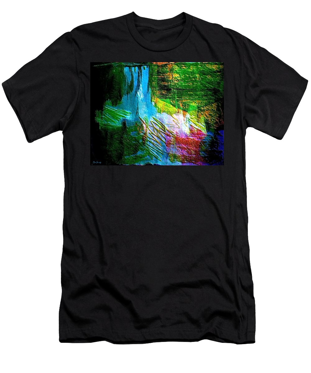 Waterfall Men's T-Shirt (Athletic Fit) featuring the mixed media Arrow Down by Contemporary Luxury Fine Art