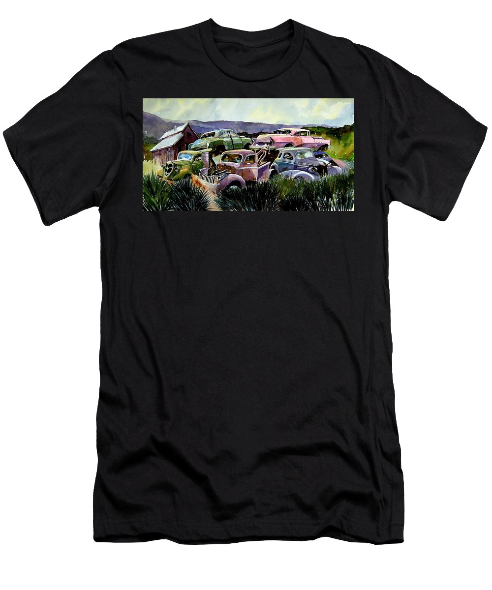 Cars Men's T-Shirt (Athletic Fit) featuring the painting Art In The Orchard by Ron Morrison