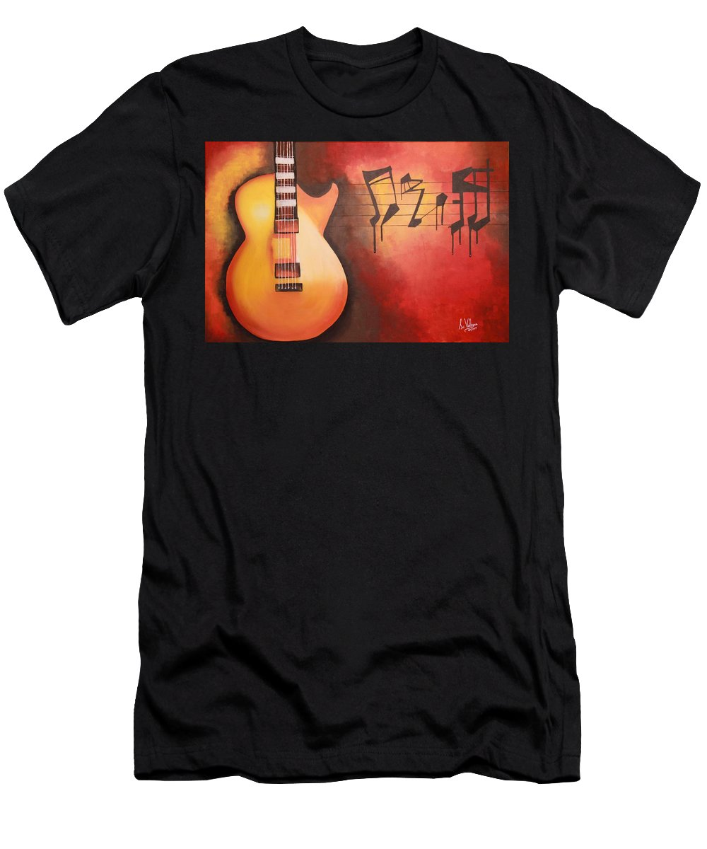 Acrylic Painting Men's T-Shirt (Athletic Fit) featuring the painting Artistic Guitar With Musical Notes by Srividhyaa Karuppannan