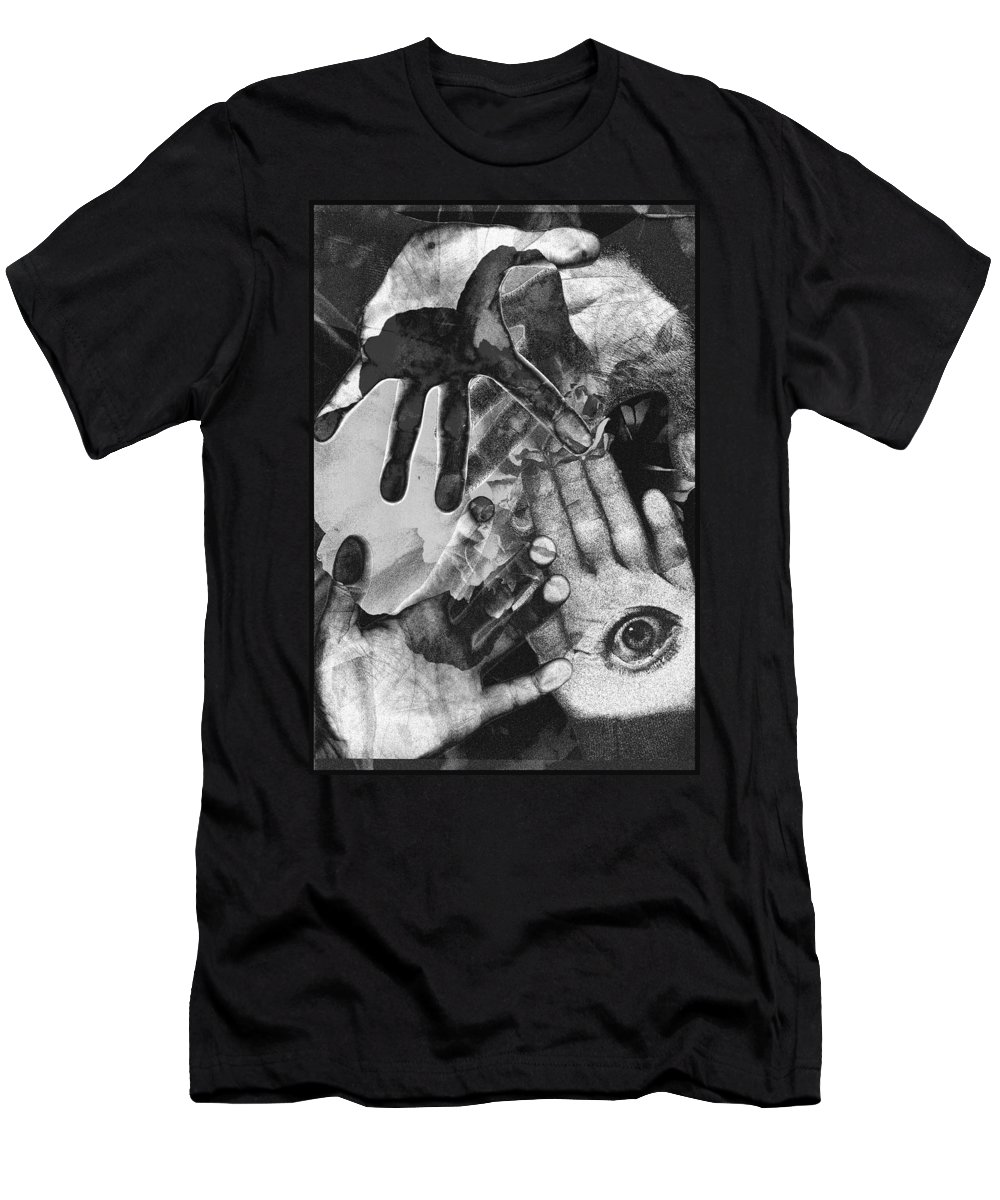 Hands Men's T-Shirt (Athletic Fit) featuring the photograph Artist's Hands by Nancy Mueller