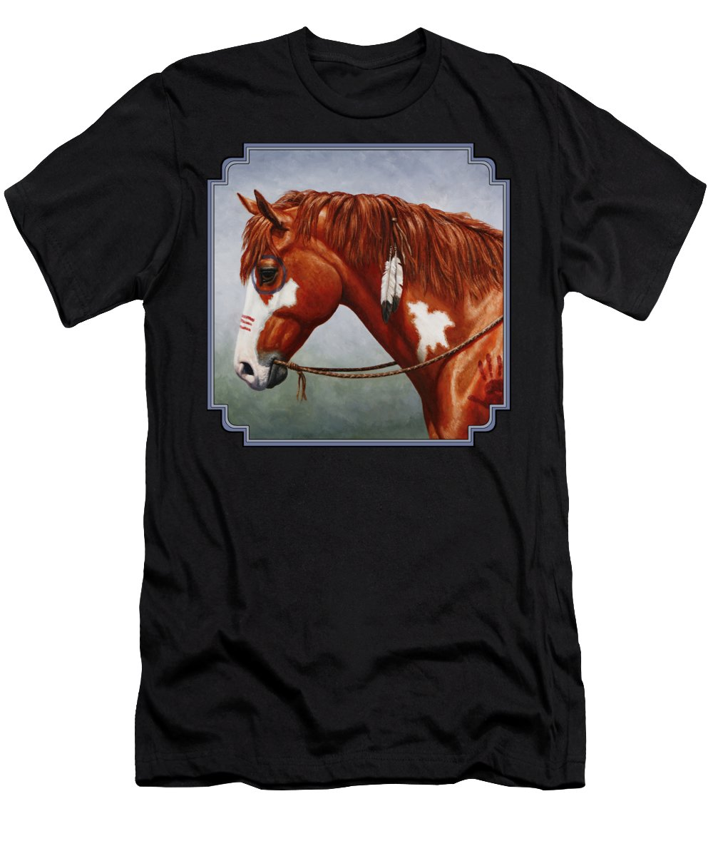Horse Men's T-Shirt (Athletic Fit) featuring the painting Native American War Horse by Crista Forest