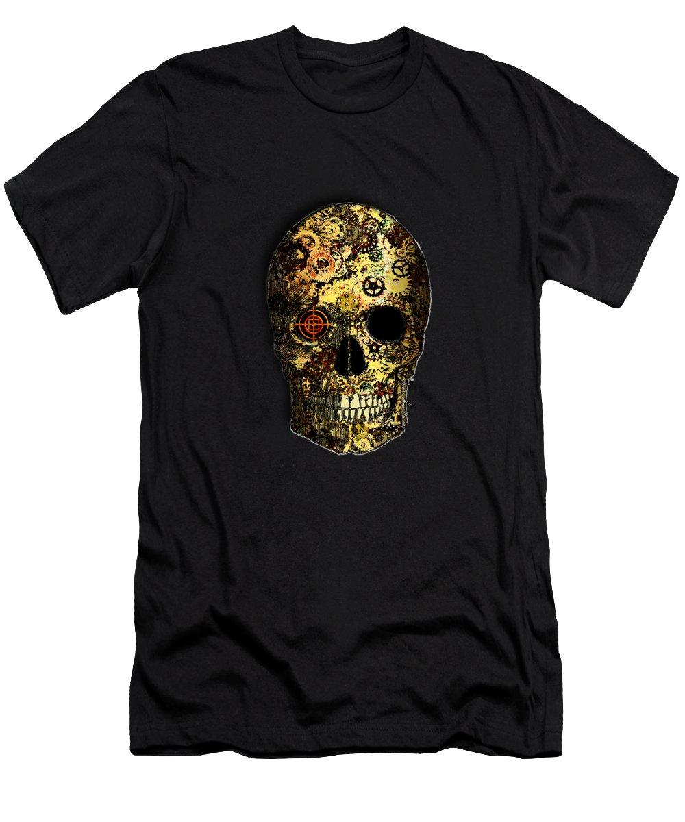 Portrait Men's T-Shirt (Athletic Fit) featuring the digital art Skullgear by Iowan Stone-Flowers