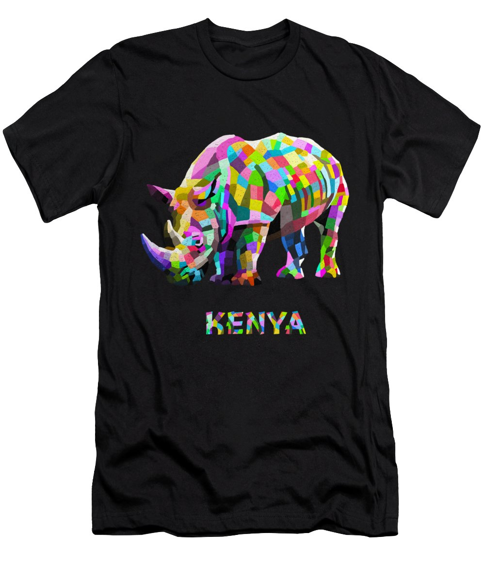 Nairobi Men's T-Shirt (Athletic Fit) featuring the painting Wild Rainbow by Anthony Mwangi