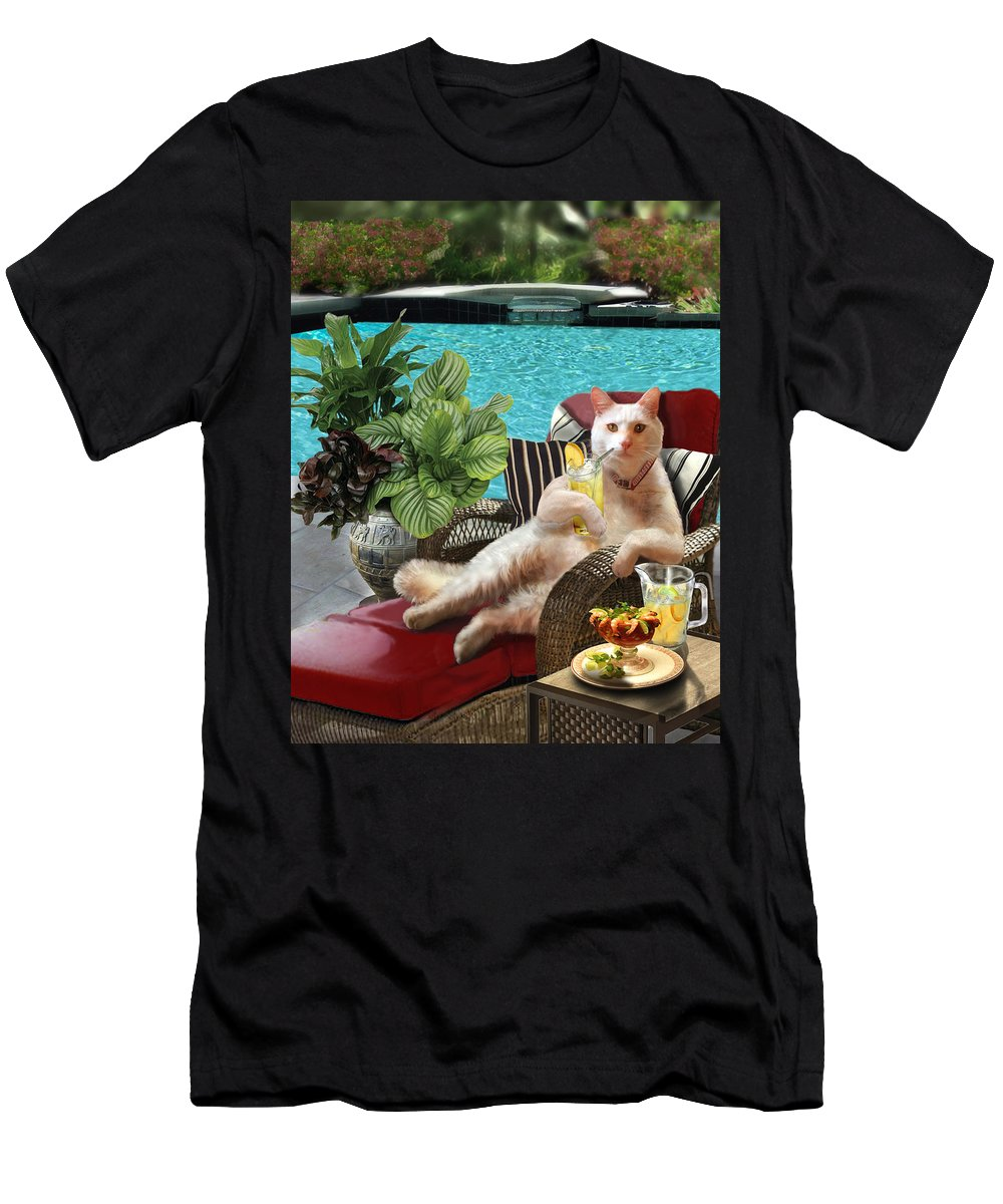 Funny Cat Picture Men's T-Shirt (Athletic Fit) featuring the painting Funny Pet Vacationing Kitty by Regina Femrite