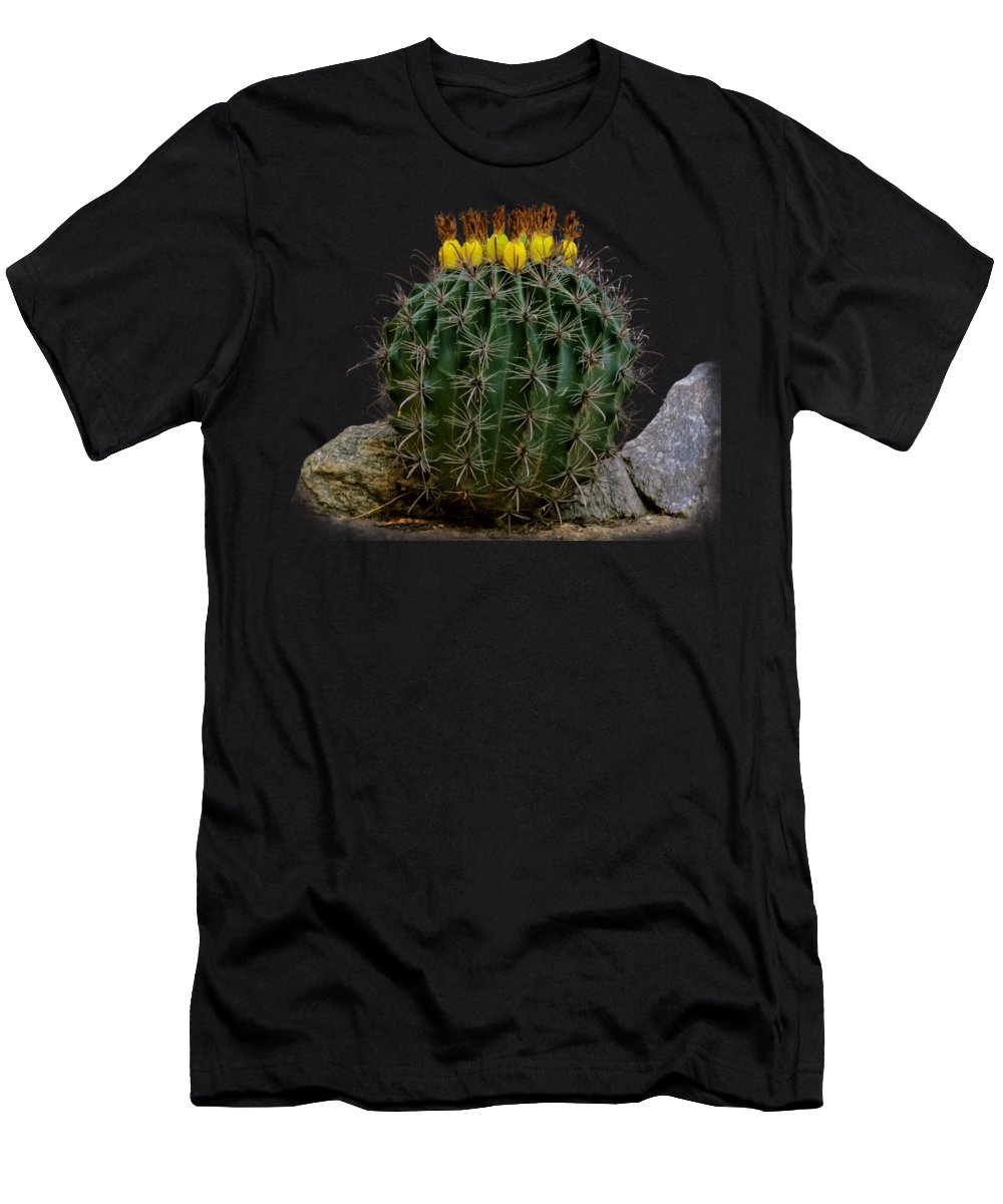 Oro Valley Men's T-Shirt (Athletic Fit) featuring the photograph Barrel Against Wall No50 by Mark Myhaver