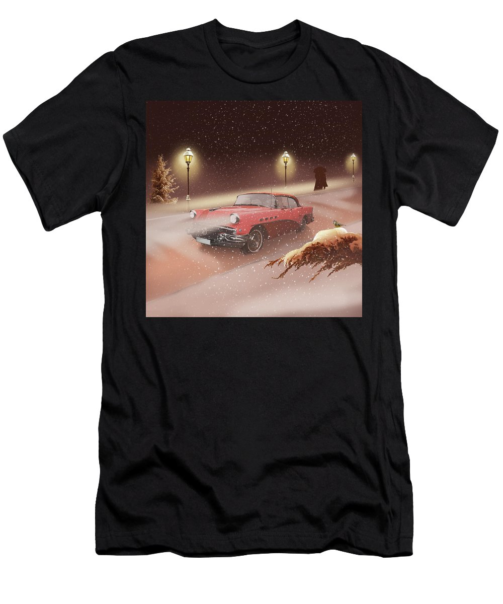 Retro Men's T-Shirt (Athletic Fit) featuring the mixed media Winter Romance by Monika Juengling